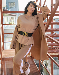 Kaya Peters - Gucci Waist Belt, Camel Track Pants, Envelope1967 Belted Wool Coat - Gucci Gang