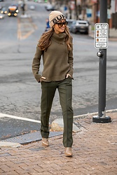 Lauren Recchia - Burberry Beanie, Celine Sunglasses, Vince Pants, All Saints Sweater, Fendi Boots - Current Color Crush