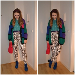 Mucha Lucha - Second Hand Shirt, Second Hand Cardigan, Second Hand Belt, Asos Jeans, Zara Bag, Monki Boots - Colourful birthday brunch