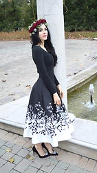 Caitlin - Single Strand Pearl Necklace, Rose Floral Hair Wreath, Daya By Zendaya Rhinestone Suede Stiletto Heels, White House Black Market Floral Printed Midi Skirt, J. Crew V Neck Sweater - Roses