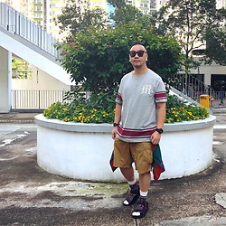 Mannix Lo - Cotton On Stripes Print Tee, Uniqlo Cargo Shorts, Double Dog Windbreaker, Online Shop Outdoor Sandals - It will be your time soon, have patience