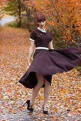 Bleu Avenue - Stop Staring Brown And Cream Vintage Style Dress - 1950s Style