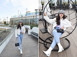 Jelena Dimić - Sinsay Houndstooth Newsboy Hat, Shein White Cropped Teddy Coat, H&M Ariana Grande Thank U, Next T Shirt, Zara Jeans, Aliexpress Bag, Shein Ankle Boots - How she handles pain, that s***'s amazing
