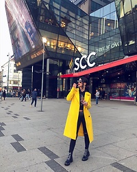 Marinka - Orsay Coat, Zara Boots, Dkny Belt Bag, Marc By Jacobs Sunglasses - Lemon juice.