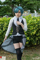 Nicole B. - Nicole B. Handmade Black Flowers Head Accessory, Blue/Turquoise Wig, Custom Lace Shirt, Black And White Striped Open Skirt, Black Stockings, Black Shorts, Custom Black Vest - Cosplay| Ciel Phantomhive , Kuroshitsuji (artbook)