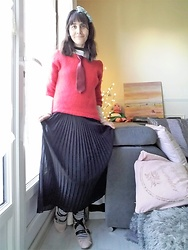 Lulu Longstocking - Thrifted Headbow, Handmade Vintage Sweater, Tie, Pleat Skirt, Ballet Shoes - Christmassy