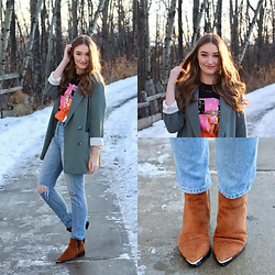 Taylor Doucette - Aritzia Sagesse Cherrelle Blazer, Citizens Of Humanity Liya Straight Jeans, Marc Fisher Yale Suede Boots - Live Before I Die - Mike Posner