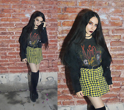 Elsa Lucía Flores - C'est Toi Black Denim Jacket, Korn Band T Shirt, Thrifted Black And Yellow Gingham Printed Skirt, Creepers Classic Black Platform - Falling Away From Me