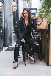 Kimberly Kong - Aeropostale Ripped Jeggings, The Codex Club Jacket With Fur Hood, Violet Ray Faux Suede Tote - Oozing Steeze In An All Black EnsembleOozing Steeze In An Al