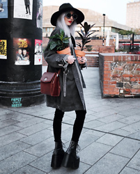 Kimi Peri - H&M Keychain, Demonia Camel 203 Platform Boots, Vii & Co. Velvet Leggings, Vintage Bag, Killstar Omen Sigil Fedora Hat, Witch Worldwide Symbol Glasses, Vii & Co. Long Denim Jacket - Plant Mom