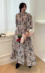 Miamiyu K - Miamasvin Balloon Sleeve Floral Dress - Winter Blossom