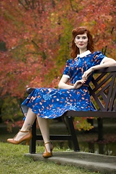 Bleu Avenue - Collectif Vintage Peta Forest Friends Swing Dress - Vintage Swing Dress