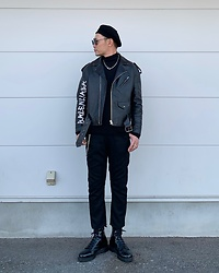★masaki★ - Newyork Hat Beret, Balenciaga Leather Jacket, Ch. Trousers, Dr. Martens Mono - What a Lovey Day