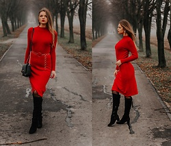 Madame Marcelline - Red Dress - Sweater red dress
