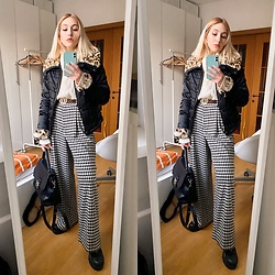 Mr_Nice_Guy__ Anastasiia Cherepnina - H&M Check Pants, Henry Cotton Cream Sweater, Guess Bag, Monki Belt - Wide pants are love