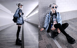 Kimi Peri - Vintage Acid Wash Denim Jacket, H&M Thigh High Socks, T.U.K. Footwear Black Sequins Double Double Creepers, Vii & Co. Vegan Leather Jacket, Candy Cult Sorceress Tee, Ghibli Choker, Unzzy Blue Plaid Skirt, Thrifted Vintage Backpack, Geometric Glasses - Nightcrawler