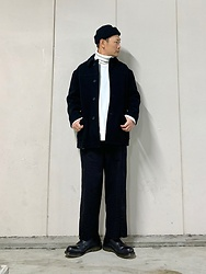 ★masaki★ - Montgomery Vintage Jacket, Ch. Wide Pants, Dr. Martens 3hole - Black & White