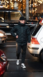 Kevin Elezaj - Converse Sneakers, Minimum Pants, Mammut Jacket, Nike Beanie - Night walk