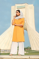 Gilda - Mango Yellow Coat, Zara White Pants, Asos Cute Flats - How to dress in Iran