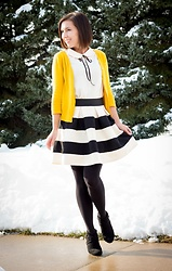 Lindsey Puls - Modcloth Striped Skater Skirt, Modcloth Cardigan - A Wintry Outfit