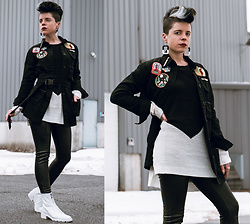 Carolyn W - Femme Luxe Utility, Zaful Two Tone, Topshop Faux Leather, Zara White Zipper - Utility Jacket