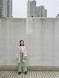 Fannyhyy - Haori, Vintage Shirt, Vintage Trousers - In Graph
