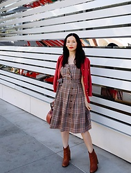 Lisa Valerie Morgan -  - Plaid Dress and Cardigan