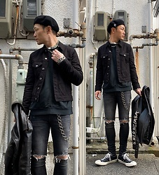 ★masaki★ - Vitaly Silver Accessories, Neuw Denim Jacket, Neuw Denim Jeans, Converse Ct70, Balenciaga Leather Jacket - Black Outfit