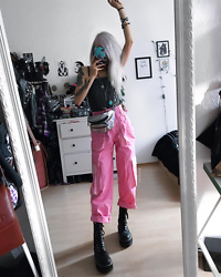 Kimi Peri - Steelground Vegan Platform Boots, The Ragged Priest Coney Combat Trousers, Femme Luxe Striped Bodysuit, Yesstyle Holographic Bag, Solrayz Moonstone Necklace, H&M Keychain - Pink Baby