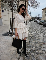 Jelena - Ray Ban Wayfarer Sunglasses, Gucci Vintage Bag, Zara Over The Knee Boots - Styling ruffle dresses