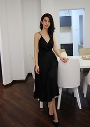 Jelena - Zaful Red Velvet Headband, H&M Black Slip Dress, Asos Black Pointy Heels - Slip dress and velvet headband