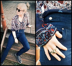 Rowena S - Vintage Paisley Cotton Blouse, Thrift Store High Waist Jeans, H&M Stag Head Ring - Paisley on Denim