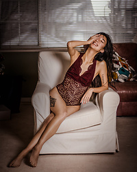 Gabby Chia - Topshop Red Lace Bodysuit - Lounging in Lingerie