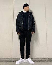 ★masaki★ - Colony2139 Puffer, Champion Sweat Shirts, Bershka Trousers, Nike Af1 - Many Black Little White