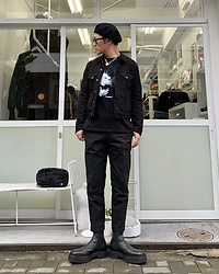 ★masaki★ - Newyork Hat Beret, Neuw Denim Jacket, David Bowie Heroes, Neuw Denim Chino, Asos Chelsea, Vitaly Padlock Necklace - Become Heroes