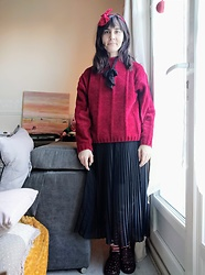 Lulu Longstocking - Thrifted Sweater, Pleat Skirt, Bow, Bow, Leo Print Shoes - Hei Hei inspired outfit