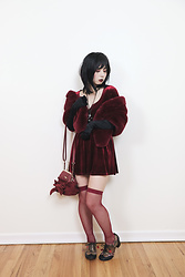 Lovely Blasphemy - Onespo Burgundy Velvet Mini Dress, Irregular Choice Clara Bow, Liz Lisa リボンガマ口バック, Black Peace Now Crown Necklace - If you remember me...I don't care if everyone else forgets