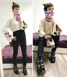 ♡Nelly Kitty♡ - H&M Wide Sleeves Sweater, Asos Combat Boots - OOTD#78