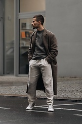 Kevin Elezaj - Converse Shoes, Zara Pants, Uniqlo Sweater, Hope Coat - Tones