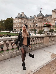 Emmy Nikolausson - Nly Trend Leather Jacket, H&M Dress, H&M Boots - WHEN IN PARIS ~