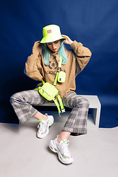 Stav Monskey - Lazy Oaf Neon Bucket Hat, Balenciaga Oversized Logo Print Loopback Cotton Jersey Hoodie, Urban Outfitters Plaid Flared Pants, Dolls Kill Neon Fanny Pack, Nike Zoom X Vista Sneakers - Give me prada, balenciaga