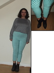 Selina M - Charity Shop Sparkly Top, Hell Bunny Polka Dot Trousers, New Look Glitter Boots - Where do the breadcrumbs lead to?