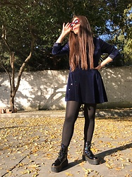 Karen Cardiel - Pull & Bear Deep Blue Velvet Minidress, Must Concept Store Hologram Platform Boots, H&M Black Tights, Must Concept Store Oval Burgundy Sunglasses - You will get it eventually ✨