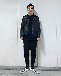 ★masaki★ - Obey Moto Jacket, Asos Dropchrotch, Vans Slipon - Simple Fits