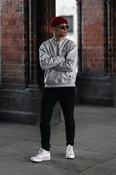 Kevin Elezaj - Converse Sneakers, Urban Outfitters Pants, Champion Sweater, Moscot Glasses, Obey Beanie - A bit of red