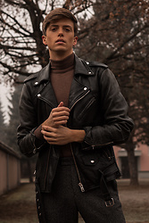 Georg Mallner - Allsaints Leather Jacket, Topman Turtleneck, H&M Pants - Janaury 18, 2020