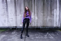 OH ANNE (BLOGGER) -  - VIOLETT KNIT, FANNY BAG & LEATHER LACE UP PANTS