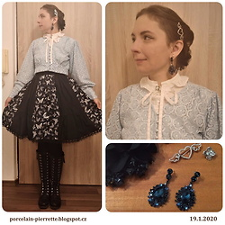 Pierrette - Reserved Blue Lacy Cardigan, Porcelain Doll Skirt With Butterflies, Ccc Black Boots - Blue butterfly