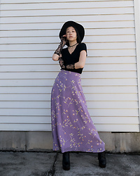 Gi Shieh - Black Hat, H&M Black Choker, Gap Black Tee, Raided Mom's Closet Pastel Purple Floral Skirt, Aldo Black Platform Boots, Black Lace Gloves - Pastel Goth but Not Really 🤣