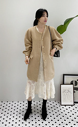 Miamiyu K - Miamasvin Puffed Sleeve Button Up Long Jacket - Neutral Elegance
